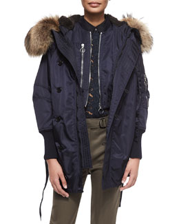 Flight Vest with Fur Hood, Cropped Flight Jacket & Classic Lace Button-Down Blouse