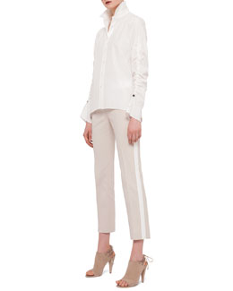 Ruched-Sleeve Button Blouse & Contrast-Striped Ankle Pants