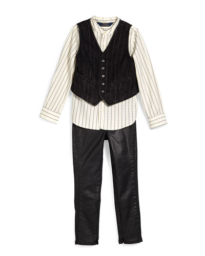 Dobby-Stripe Cotton Shirt, Coated Skinny Jeans & Striped Denim Vest