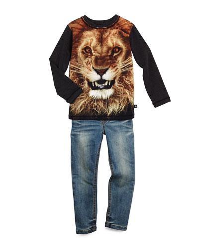Reto Lion-Print Jersey Tee & Arlen Slim-Fit Biker Jeans