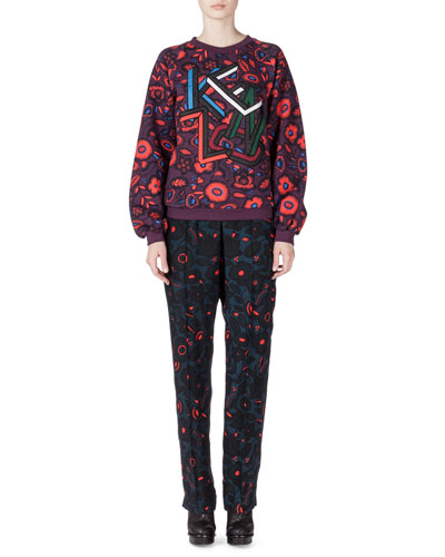 Shadow Flower Kenzo Sweatshirt & Silk Tapered-Leg Pants