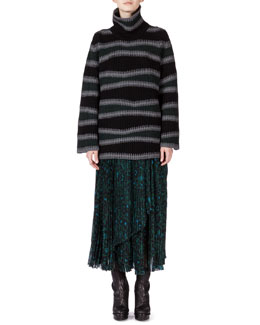 Abstract-Stripe Oversize Wool Sweater & Shadow Flower Pleated Skirt