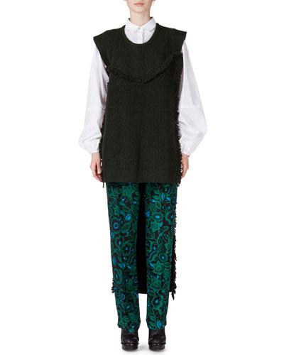 Long-Sleeve Ruffle-Hem Blouse, Long Fringe Turtleneck Dickey & Shadow Flower Silk Pants