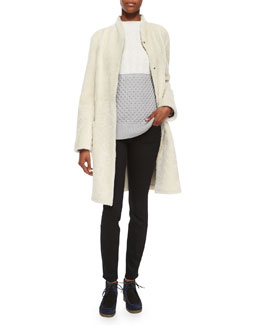 Shawl-Collar Shearling Coat, Colorblock Mixed Knit Sweater & Ultra-Skinny Denim Jeans