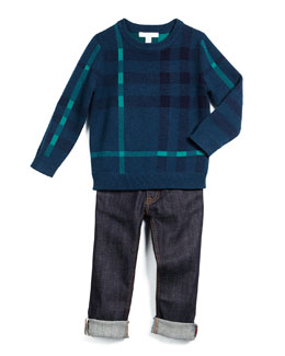 Redbury Check Pullover Sweater & Skinny Rolled-Hem Jeans