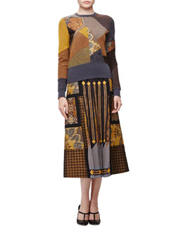 Patchwork Mixed-Pattern Knit Sweater & Mixed-Print Patchwork Pleated Midi Skirt