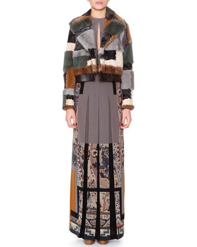 Mink/Astrakhan Fur Patchwork Moto Jacket & Floral-Print Slit-Keyhole Pleated Gown