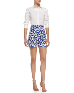 Basic Poplin Button Blouse & High-Waisted Gaspar-Print Shorts