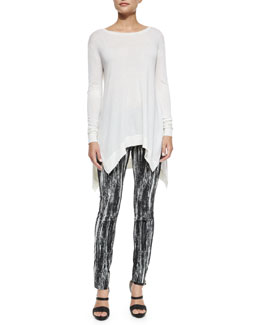 Cashmere Slub-Knit Handkerchief Tunic & Brush-Striped Stretch Jacquard Leggings