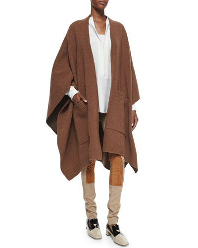 Wool Cape with Pockets, Split-Neck Bishop-Sleeve Blouse & Stretch Twill Jodhpur Leggings