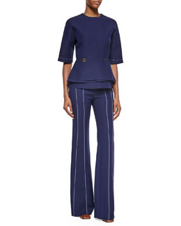 Layered-Peplum Structured Blouse & Stitched Seam-Detailed Wide-Leg Pants
