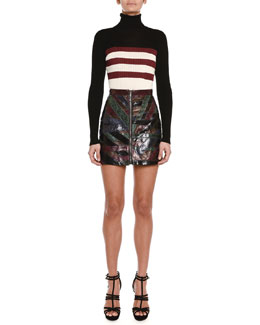 Colorblock Triple-Striped Turtleneck Sweater & Python Patched-Stripe Mini Skirt