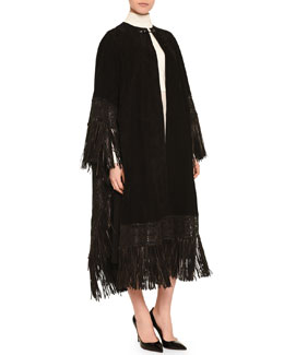 Fringe-Trimmed Suede Cape, High-Collar Layered Cape Blouse & Center-Pleated Crepe Culottes