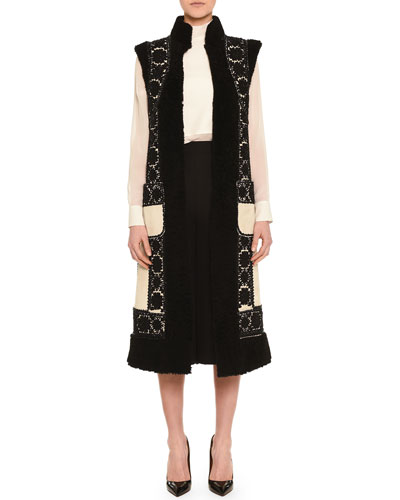 Floral-Embroidered Shearling Gilet, High-Collar Layered Cape Blouse & Center-Pleated Crepe Culottes