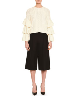 Voulant Tiered Cable-Knit Sweater & Center-Pleated Crepe Culottes