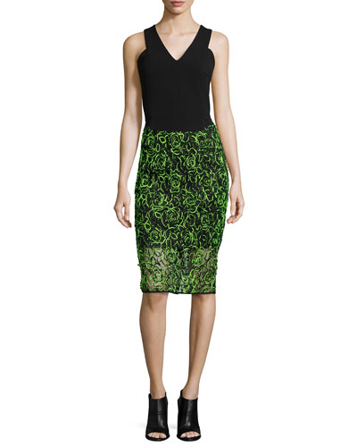 Double-Weave V-Neck Shell & Neon Floret Webbing Skirt