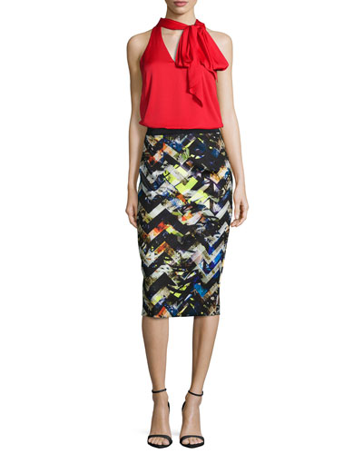 Silk Crepe Scarf Halter Top & Zigzag Midi Pencil Skirt