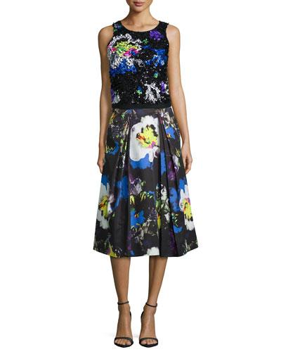 Midnight Floral Beaded Top & Lana Skirt