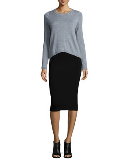 Bar-Inset Wool Pullover & Structured Fitted Skirt