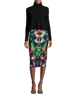 Turtleneck Cropped Pullover & Prism-Print Midi Skirt