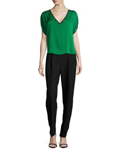 Silk V-Neck Dolman Top & Double-Face Crepe Tuxedo Pants