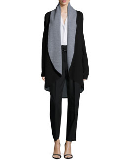 Contrast Draped Wool Coat, Tessa Long-Sleeve Silk Blouse & Paperbag Belted Trousers