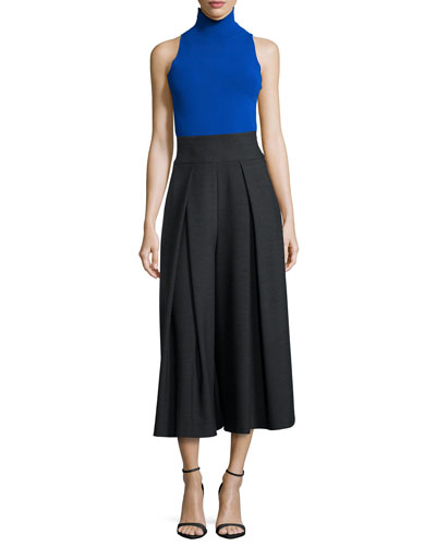 Stretch Turtleneck Shell & High-Waisted Double-Face Culottes