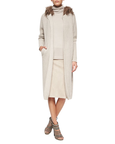 Fox Fur-Trimmed Hooded Cashmere-Blend Ribbed Coat, Two-Ply Cashmere Top & Suede Pencil Skirt