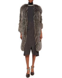 Fox Fur Cashmere-Knit Long Coat, Sleeveless Turtleneck Jersey Top, Necklace & Wool-Cashmere Faux-Wrap Skirt