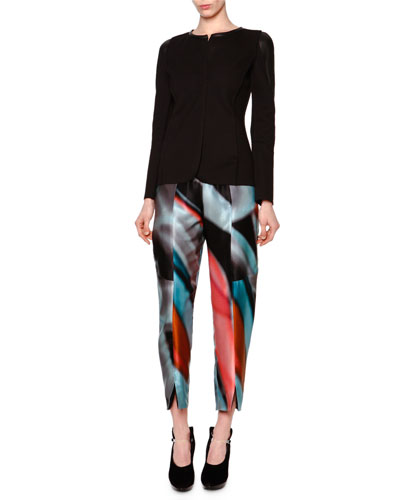 Leather-Inset Pique Knit Jacket & Chagall Printed Silk High-Waist Trousers