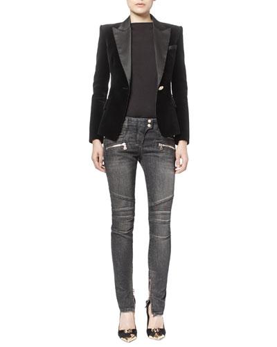 Velvet Satin-Trimmed Blazer & Classic Denim Moto Jeans