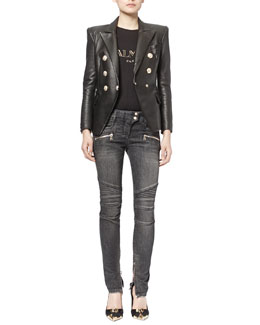 Classic Leather Double-Breasted Blazer & Classic Denim Moto Jeans