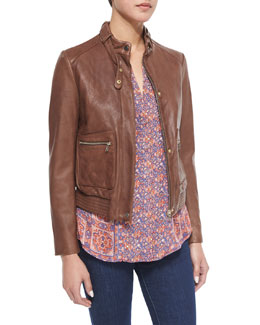 Nakotah Leather Jacket & Pazima Floral-Print Silk Top