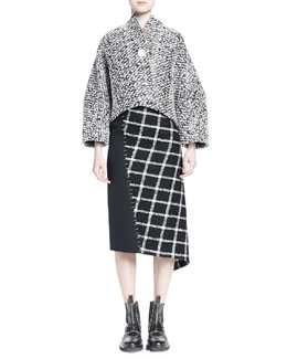 Tweed Cocoon Jacket w/ Brooch & Asymmetric Tweed Staple Skirt