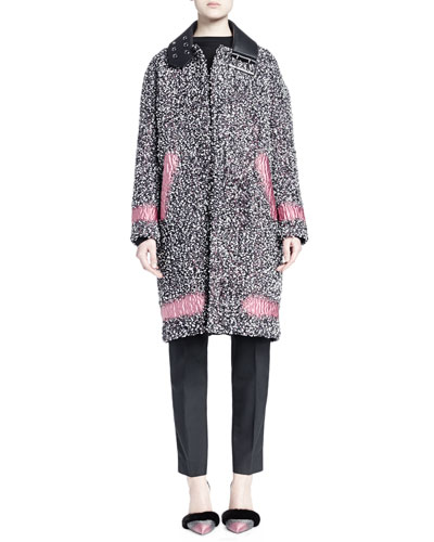 Spray Paint-Inset Tweed Long Cocoon Coat, Stapled Raglan-Sleeve Sweater & Chain-Trimmed Pleated Skinny Pants