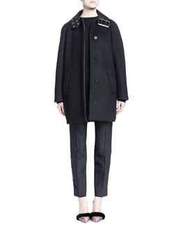 Leather Buckle-Collar Short Cocoon Coat, Stapled Raglan-Sleeve Sweater & Chain-Trimmed Pleated Skinny Pants