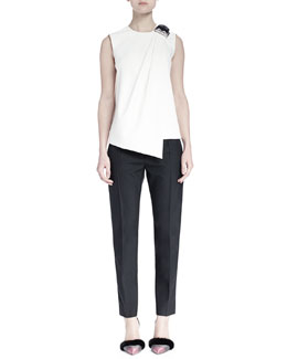 Leather Buckled-Shoulder Draped Top & Chain-Trimmed Pleated Skinny Pants