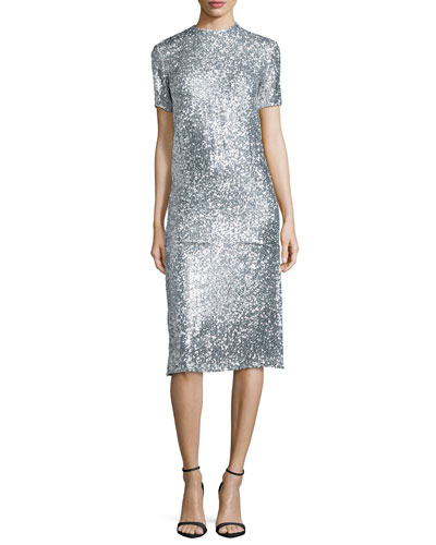 Allover Sequin Short-Sleeve Tee & Allover Sequined Pencil Skirt