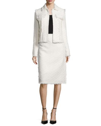 Fringe-Trimmed Tweed Double-Pocket Jacket & Fringe-Trimmed Tweed Pencil Skirt