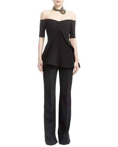 Off-The-Shoulder Split-Front Evening Top & High-Waist Double-Faced Pants