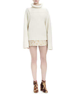 Long-Sleeve Turtleneck Sweater & Paisley Brocade Mini Skirt