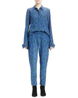 Paisley-Print Ruffled-Back Blouse & Tamara Paisley Track Pants
