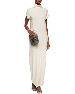 Turtleneck Dolman Cap-Sleeve Cashmere Gown, Fox Fur Mini Messenger Bag & Metallic Leather Cuff Bracelet