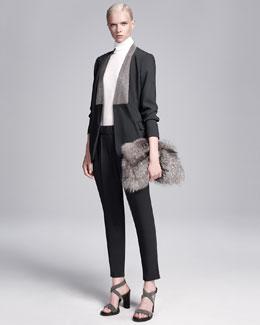 Pleated Wool Crepe Cropped Pants, Dark Gray