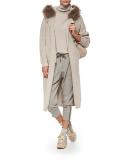 Fox Fur-Trimmed Hooded Cashmere-Blend Ribbed Coat, Two-Ply Cashmere Top, Jogger Pants & Backpack