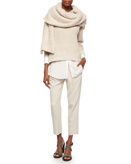 English Rib Knit Paillette Sweater, Long-Sleeve Silk-Hem Shirt, Pleated Crepe Cropped Pants & Cashmere-Blend Boucle Knit Scarf