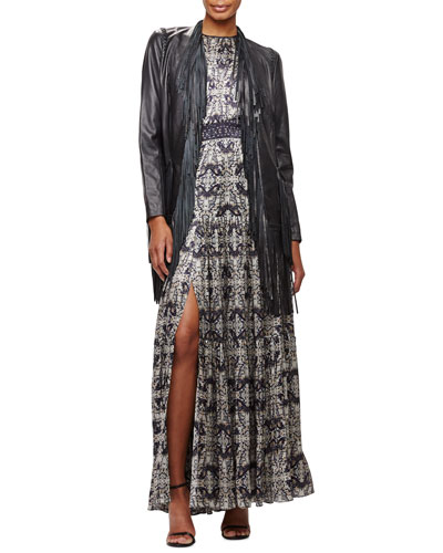 Adelle Fringe Leather Jacket & Penelope Pleated Printed Satin Maxi Dress
