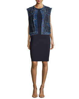 Denim/Tweed Vest & Nancy Lace-Trim Illusion Dress