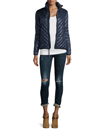 Chevron Quilted Parka & Low-Rise Distressed Skinny Jeans