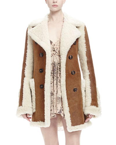 Reversible Shearling Double-Breasted Coat & Herb-Print Plisse Lace-Inset Mini Dress